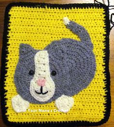 Inspiration for me. Not a free pattern. But this & other blocks are for sale by this blogger to put together as an adorable blanket. Check her out at ravelry. Knot Your Nana's Crochet: Cat