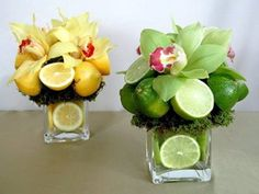 Beautiful floral arrangements make perfect table centerpieces, home decorations and gifts. No matter what the occasion is, a colorful floral arrangement with lemons will fill the room with aroma and beauty, express your feelings in a special ways and create striking and unique dining table decor.