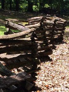 CRISCROSSED STACKED FENCE. ANTEBELLUM PLANTATION at STONE MOUNTAIN PARK. GEORGIA
