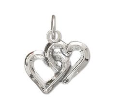 Sterling Silver Double Hearts Charm by jewelrymandave on Etsy, $26.94