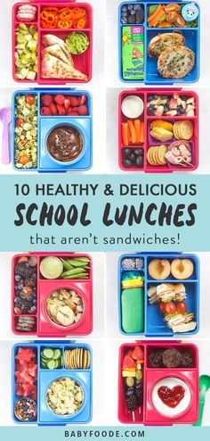 My kids love these fun and healthy school lunches packed in a bento box - and I love how easy they are to make! This post is packed with our go-to healthy, colorful and easy lunch recipes for back to school. You'll find tons of inspiration for bento box lunches that aren't sandwiches! Click now and make your school lunch routine a snap! #schoollunch #bentobox