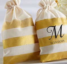 Gold Stripe MUSELIN FAVOR BAG Set of 36 by MichiganCandyBuffet