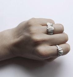Cut Rock is part of the collection 'In the Rough'. The inspiration for this collection was found in Stockholm's raw rock formations with its fasc Rock Rings, Rock Formations, Stones And Crystals, Sterling Silver Rings, Jewels, Metal, Inspiration, Jewellery, Adventure