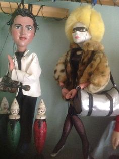 Elvis and Pris from Blade Runner puppets , made using Pelham heads