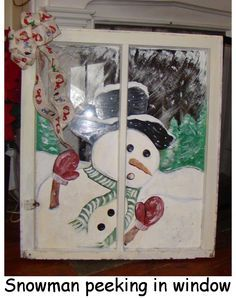 Old Window Crafts - Bing Images Old Window Crafts, Old Window Projects, Old Window Ideas, Christmas Signs, Christmas Art, Christmas Decorations, Christmas Windows, Snowman Decorations, Snowman Crafts