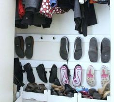 s 16 brilliant ways to squeeze much more into your closet, closet, organizing, storage ideas, Use cabinet knobs to store shoes on the wall Hanging Shoes, Hanging Clothes, Closet Storage, Diy Storage, Storage Ideas, Shelving Ideas, Storage Hacks, Boot Organization, Bedroom Organization