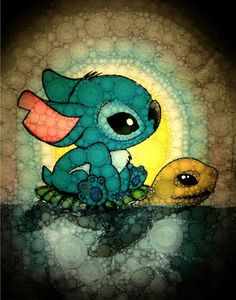 Stitch riding a turtle. Could it be Crush from Finding Nemo?