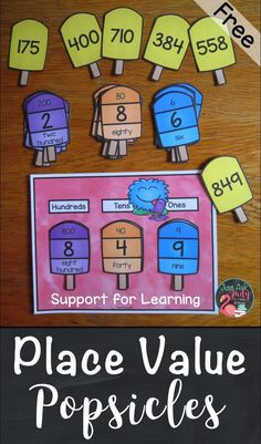 Place Value Popsicles Three-Digit Numbers Here's a free popsicle themed place value resource for three-digit numbers to help your students make explicit connections between the. Fun Math, Math Games, Math Activities, Math Math, Educational Activities, Place Value Activities, Math Place Value, Second Grade Math, First Grade Math