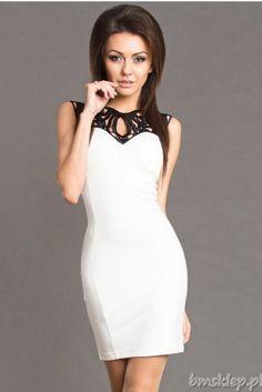 Szyfonowa sukienka ze zdobieniem u góry... #Sukienki - http://bmsklep.pl/emamoda-sukienka-bialy-6301-1-sukienki