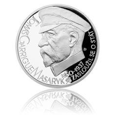 Stříbrná medaile Českoslovenští prezidenti - T. G. Masaryk proof | Česká mincovna Coins, Personalized Items, Coining