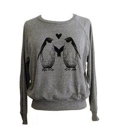 Penguin Love Raglan Sweatshirt  American Apparel by friendlyoak, $25.00