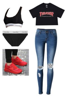 """Untitled #9"" by bluejewelzg on Polyvore featuring WithChic, Calvin Klein Underwear and Calvin Klein"