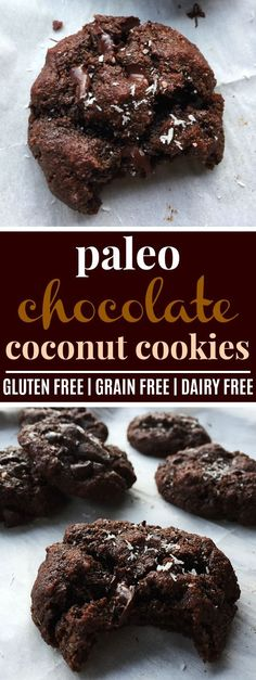 Paleo Double Chocolate Chip Coconut Cookies | These paleo double chocolate chip coconut cookies are AMAZING! They're so soft, the perfect texture, and deliciously chocolatey! I love that they're made with almond flour and only sweetened with honey! Plus, they're gluten-free, grain-free, and dairy-free. I'm going to be making these over and over! Definitely pinning! #paleo #glutenfree #grainfree #dairyfree