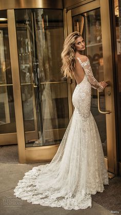 berta fall 2017 bridal long sleeves off the shoulder v neck full embellishment lace elegant romantic fit and flare wedding dress low back chapel train (012) #weddingdress