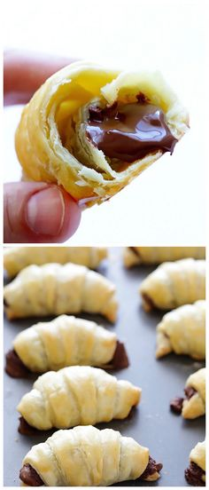 Nutella Croissants -- super easy to make, and crazy good! Nutella Croissants -- super easy to make, and crazy good! Nutella Croissant, Croissant Recipe, Chocolate Croissants, Nutella Bread, Easy Desserts, Delicious Desserts, Dessert Recipes, Yummy Food, Finger Food