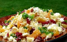 Couscous with Dried Fruit & Feta.this dish is so easy to make and presents so beautifully with the red cranberries and green sliced onion. The feta cheese is awesome in the recipe.a fabulous side for any meal and delicious to boot! Couscous Recipes, Couscous Salad, Feta Salad, Salad Recipes, Salsa, Veggie Side Dishes, Cooking Recipes, Healthy Recipes, Dried Fruit