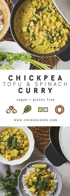 A quick and easy to make chickpea, tofu and spinach curry that will warm you up and impress your friends and family! #vegan #healthy #indian #recipe