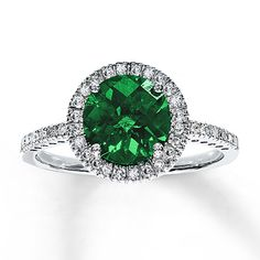 Lab-Created Emerald Ring 1/5 ct tw Diamonds 10K White Gold | Kay LOVE THIS - but would want a natural emerald!