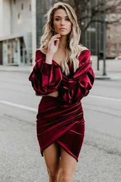 Women Dark-red Elegant Wrap Surplice Neck Puff Sleeve Tulip Hem Velour Dress - M Elegant Dresses, Sexy Dresses, Aesthetic Fashion, Dark Red, Tulip, Chic Outfits, Sleeve Styles, Dresses Online, What To Wear