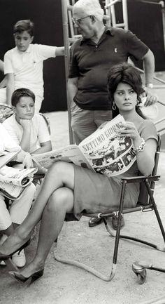 Sophia Loren on he set of 'La Riffa', 1961. Photo by Marcello Geppetti.