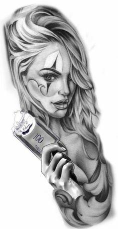Chicano Tattoos Sleeve, Chicano Style Tattoo, Wolf Tattoo Sleeve, Body Art Tattoos, Sketch Tattoo Design, Skull Tattoo Design, Tattoo Sleeve Designs, Tattoo Sketches, Catrina Tattoo
