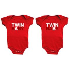 Twin Baby Onesies red, childrens, childrens accessories