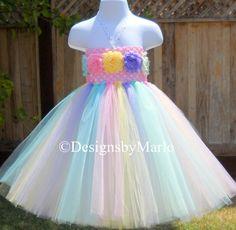Pastel tutu dress PICK ANY SIZE Pink blue by Designsbymarlo, $39.50