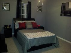 grey and red | ... Gray Cover Bedding And Small Red Pillows Plus Grey Cushions As Well As