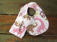 Bib & Burp Cloth Set - Pink Animal Pattern by LittleFootBoutique, $12.00