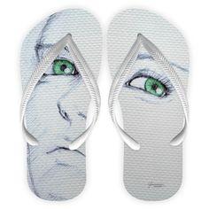 Chinelo Flip Flops   tira branca Coleção Esmeralda @guiomarroda