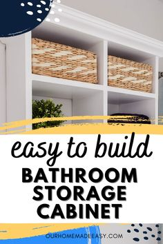 Add some style and storage to your bathroom with this easy to build wall cabinet. It's a Pottery Barn knock-off that you can build for a fraction of the cost!