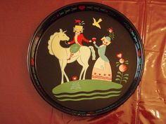 Vintage Painted Peter Hunt Style Toleware Folk Art Round Metal Serving Tray in Toleware | eBay