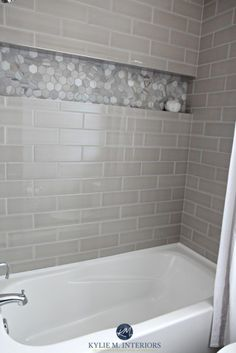 charming shower niche designs. Bathroom with bathtub and gray subway tile shower surround niche or  alcove in hexagon marble Charming Shower Tile Ideas 74