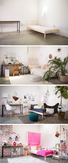 One standard dorm room, 3 different ways to DIY and decorate it! Are you bohemian, modern, colorful ... or a little bit of each?