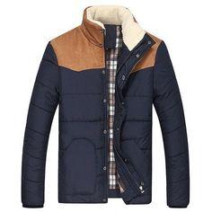 Flocking Stand Collar Splicing Design Long Sleeve Thicken Men's Cotton-Padded Jacket