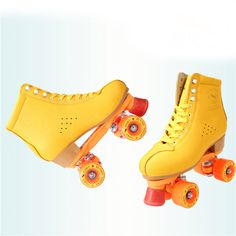 quad roller skates on sale at reasonable prices, buy Yellow Adults Double Roller Skates Cow Leather Skating Shoes Quad Roller Skates 4 Wheels Boots from mobile site on Aliexpress Now! Roller Derby, Roller Skating, Quad Roller Skates, Skate 4, Skate Shoes, Lace Boot Socks, Skater Girls, Toms, Yellow