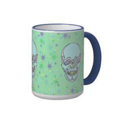 Hand Drawn Pastel Skulls and Stars Coffee Mug #coffee #mugs #zazzle #skulls #stars #artwork