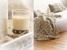 living room white grey stars knit