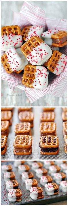 Candy Bar Pretzel Bites are easy to make Christmas cookies. This recipe would be perfect for a cookie exchange or they could be used to fill mason jars.