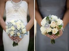 white roses with dusty miller, gold salal  and brooch accents designed by Lana with Fairbanks Florist.  Photography by Kristin Weaver