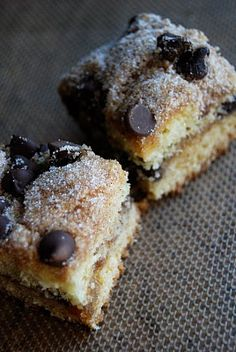 Chocolate Chip Coffee Cake Could make this a little less fatty.   Made muffins instead. Baked these today and used a banana instead of adding butter. Also switched out the sugars for half a cup of honey. Think I will use a lil more honey next time. Very moist.