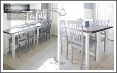 VersaTABLE   Do It Yourself Home Projects from Ana White. SO SMART!  Build two thin tables that can merge together into a typical dining table or scoot up against the wall to dine bar-style