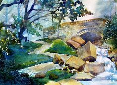 """""""Hebdon Gill"""" -original watercolour by Glenn Marshall.Situated in the Yorkshire Dales this is a lovely stroll up the dale near Grassington....ancient stone bridges, tumbling waters - what more could anyone want?"""