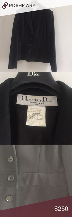Christian Dior Paris jacket black 57% viscose 39% Laine-wool 4% Leycre size France 42 usa 10 in very good condition Jackets & Coats Blazers