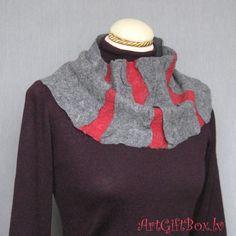 Купить валяный шарф-труба КРАСНОЕ НА СЕРОМ - шарф, шарф-снуд, шарф-воротник