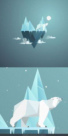 'Low Poly Polar Bear' iPad Case/Skin by scarriebarrie - Qoitech - Polar Bear Illustration, Digital Illustration, Flat Illustration, Art Illustrations, Low Poly, Polar Bear Tattoo, Polygon Art, Bear Graphic, Geometric Art