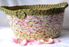 $80 #Handmade #Coiled #Basket #Pink Floral Fabric #Storage #organizer  #magazine #rack #towel #holder by #Wexford #Treasures