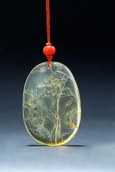 Chinese carved yellow tourmaline pendant, 19th century