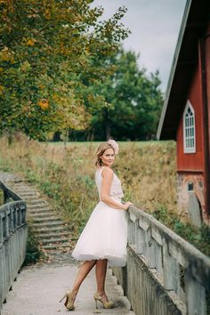 Wedding inspiration shoot in Finland.   Petra Veikkola Photography Wedding dress: Pukuni Hair adornments: AINO Styling: AINO / Satu & Pukuni / Saara Make-up: Mona's Daily Style Hair: Hanna Julku Model: Wilma, Modelpoint Bride, boho, vintage, crop top, lace dress.