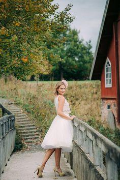 Wedding inspiration shoot in Finland.   Petra Veikkola Photography Wedding dress: Pukuni Hair adornments: AINO Styling: AINO / Satu & Pukuni / Saara Make-up: Mona's Daily Style Hair: Hanna Julku Model: Wilma, Modelpoint Bride, boho, vintage, crop top, lace dress.